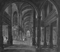 a fantastical church interior with figures by hendrick aerts