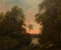 pêcheurs à la rivière au crépuscule by nicolas rousseau