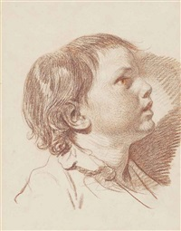 head of a young boy, in profile, looking up to the the right by jean baptiste greuze