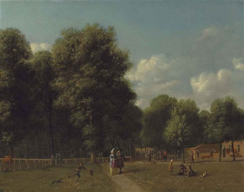 a view of haarlemmerhout near haarlem with elegant figures on a path and children playing by gerrit adriaensz berckheyde
