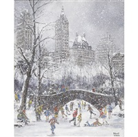 skaters on the lake in central park (+ new york, central park south, twilight; 2 works) by robert lebron