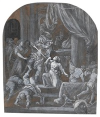 a woman being murdered by a soldier in a temple by gerrit (gerard) battem