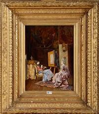 peintre et son modèle dans l'atelier by françois brunery