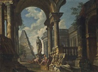 a capriccio of classical ruins, with soldiers resting in the foreground by giovanni paolo panini