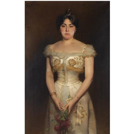 a portrait of an elegant lady with flowers by george sturm