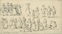 studienblatt mit marktszenen und vornehmen herren (study) by paulus constantijn la (la fargue) fargue