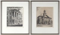 chowan county court house, edenton, north carolina (+ north carolina state capitol, raleigh; 2 works) by louis orr