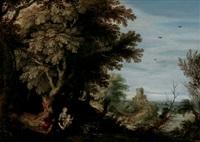 bewaldete landschaft mit einem turm, im vordergrund die ruhe auf der flucht nach ägypten by willem van den bundel