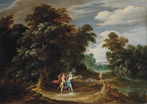 a wooded landscape with scenes from the story of apollo and daphne by alexander keirincx