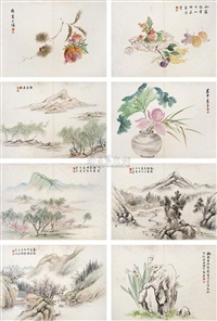 landscape, flower and bird (album w/23 works) by liu zhijiu