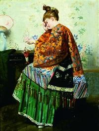jeune femme jouant avec un pantin by louis charles verwee