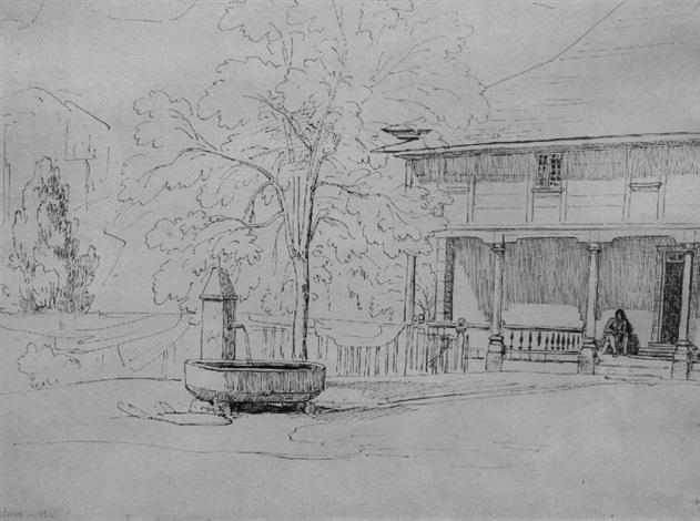personnage devant une maison à grindelwald by théodore claude félix caruelle d aligny