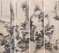 山水 (4 works) by liang ji