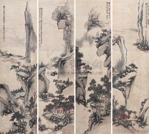 山水 4 works by liang ji