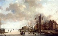 view on a canal near gouda by a. de groote