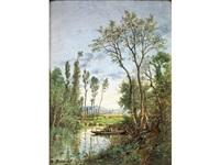 paysage à la barque et pêcheur by michel bouquet