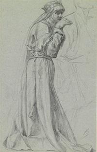 stehende frau in renaissance-kostüm (study) by alexandre bida