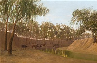 cattle drinking by a river by william charles piguenit