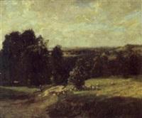 shepherdess and flock in sunlit landscape by william westley manning