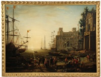 harbour with villa medici by claude lorrain