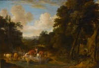 a wooded landscape with a horseman and shepherdess fording a stream by martinus de la court