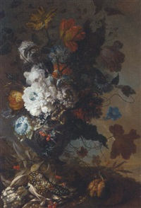 chrysanthemums, tulips, roses, a sunflower, and other flowers in an urn with a pomegranate, berries and a lupin by gertrude metz