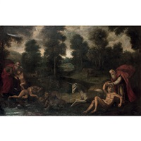 paysage de foret avec la creation d'adam by flemish school (17)