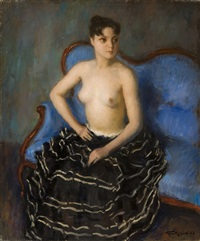 nude on the blue sofa by léonid frechkop