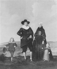 portrait of a west frisian couple with their two children standing in a landscape by herman mijnerts doncker