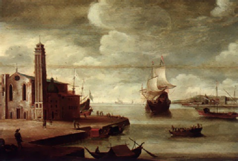 an italianate harbour with a church on a quayside by dirck verhaert