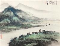 漓江风情 镜片 纸本 by li xiongcai