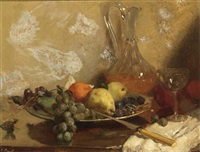 still life with grapes, oranges and a knife, all on a wooden table by solomon garf