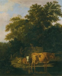 a wooded landscape at dusk, with two herdsmen a dog, sheep and cattle by adriaen van de velde