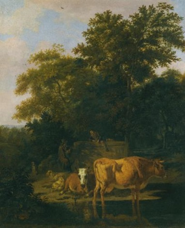 a wooded landscape at dusk with two herdsmen a dog sheep and cattle by adriaen van de velde