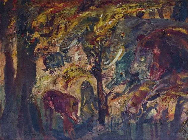 hutan terbakar (forest on fire) by s. sudjojono