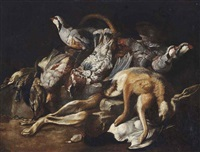 a dead hare, partridges and other game on a stone ledge by jacob van der kerckhoven