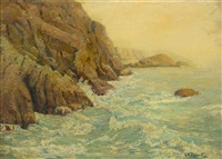 waves on the bluff by george w. picknell
