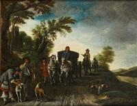 chariot attelé dans un chemin animé by anthonie palamedesz
