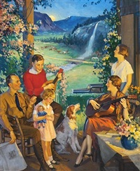 family relaxing on porch by charles m. relyea