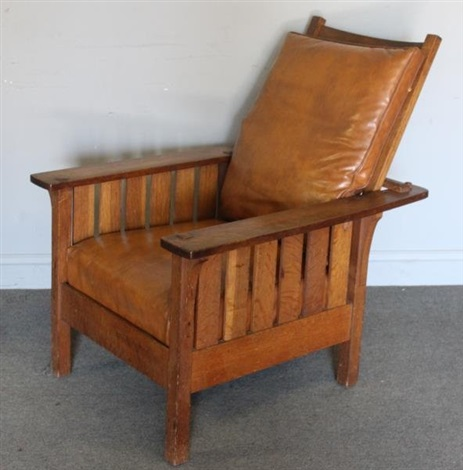 Morris Chair With Leather Cushions By L.u0026 J.g. Stickley