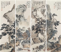 山水 四屏立轴 设色纸本 (landscapes of four screen) by pu ru