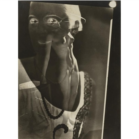 photomontage standing nude with superimposed face by maurice tabard