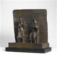 two seated figures against wall by henry moore