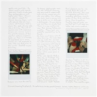 polaroid drawing triptych (1-3) in deference to the practitioners: krims (+ 3 others; 4 works on 3 sheets) by robert heinecken