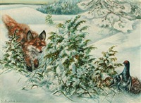 winter scenery with a fox and birds by elis barkstedt