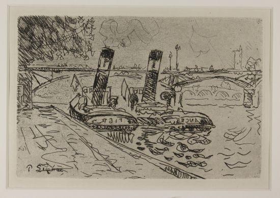 paris: le pont des arts avec remorqueurs by paul signac