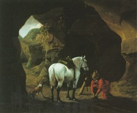 a man doing up lacing his shoe beside his white horse and dog at the entrance of a cave by pieter cornelius verbeeck