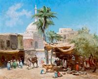 orientalischer marktplatz, im hintergrund eine moschee by godefroy de hagemann