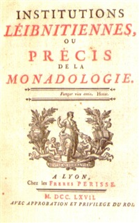 institutions leibnitziennes, ou précis de monadologie (bk by pierre sigorgne with portrait) by etienne ficquet