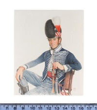 an officer of the 7th (queens own) light dragoons, seated, wearing blue uniform with white lace, plumed hat and sword in his right hand by michael bartlett